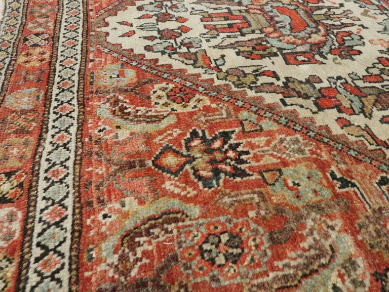 Small Persian Fereghan Folk Rug in Rust and Ivory In Good Condition For Sale In New York, NY