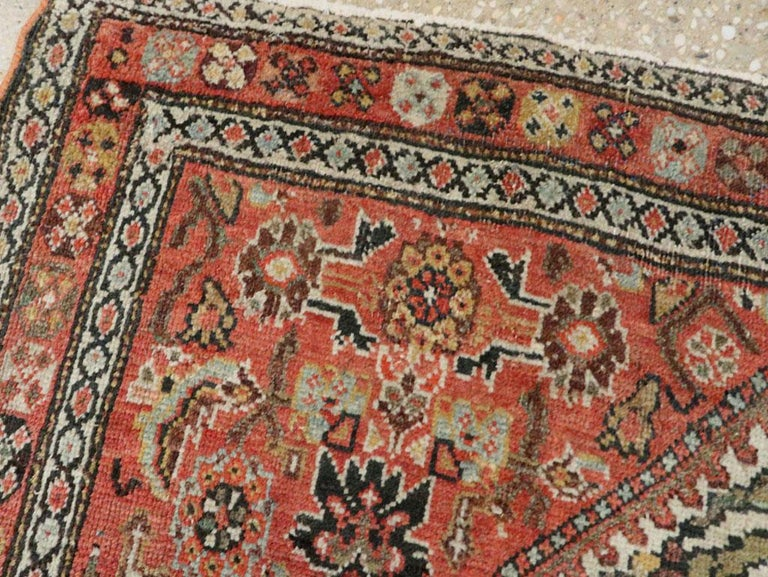 19th Century Small Persian Fereghan Folk Rug in Rust and Ivory For Sale