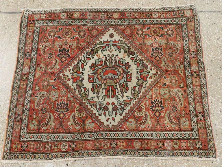 Wool Small Persian Fereghan Folk Rug in Rust and Ivory For Sale