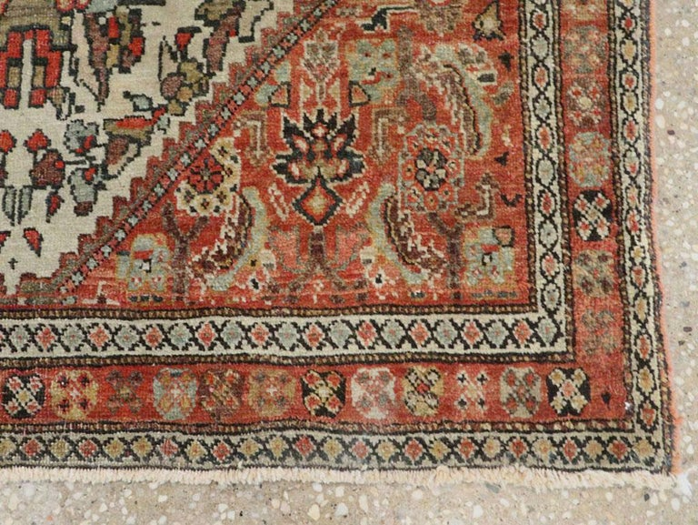 Small Persian Fereghan Folk Rug in Rust and Ivory For Sale 1