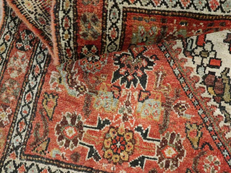 Small Persian Fereghan Folk Rug in Rust and Ivory For Sale 2