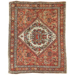 Small Persian Fereghan Folk Rug in Rust and Ivory
