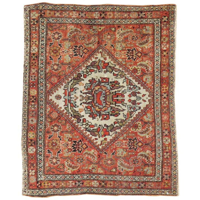 Small Persian Fereghan Folk Rug in Rust and Ivory For Sale