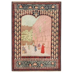 Small Pictorial Antique Israeli Marbediah Rug. Size: 2 ft 6 in x 3 ft 6 in