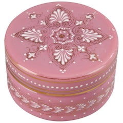 Small Pink Opaline Box with Empire Motifs
