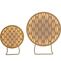 Small Pirulito Brazilian Contemporary Graphic Pattern Wood Table Lamp by Lattoog