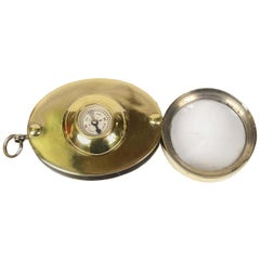 Small Pocket Compass Made of Brass with Magnifying Glass, 1930s