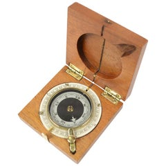 Small Pocket Compass, Mahogany Wood and Brass, WWI