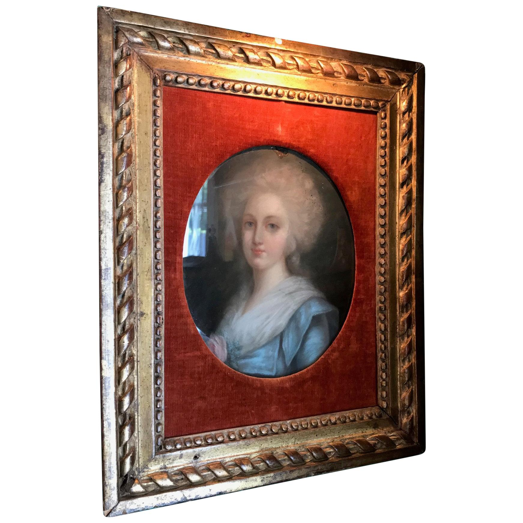Portrait of a Lady Pastel 19th C. British School Antiques Los Angeles gilt wood