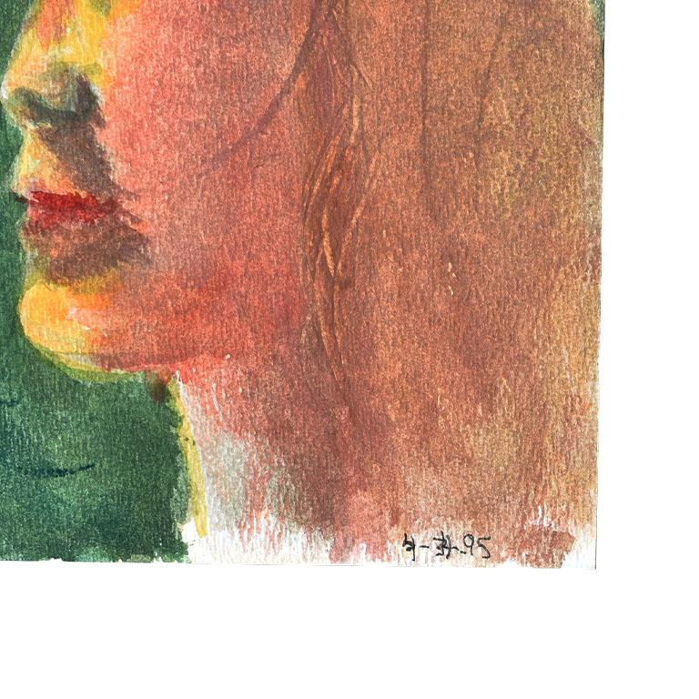 A small portrait painting on card by artist Clair Seglem. Painted on card, the subject of this painting is painted in profile, and appears to be of a young woman. She has blonde hair, and a red lip. The background is a dark emerald green. The medium