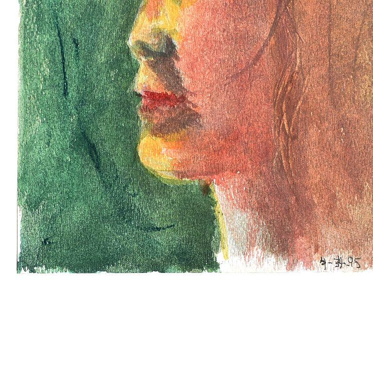 Post-Modern Small Profile Portrait Painting of a Blonde Girl on Green For Sale