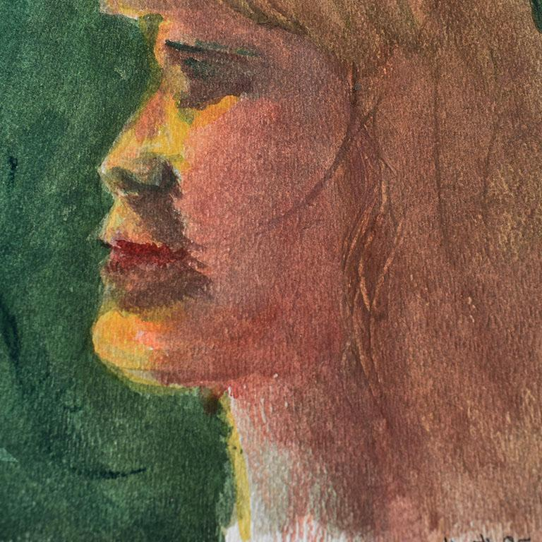 American Small Profile Portrait Painting of a Blonde Girl on Green For Sale