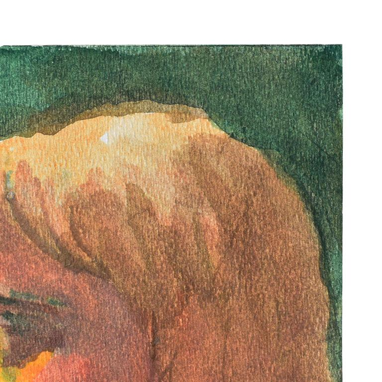 Small Profile Portrait Painting of a Blonde Girl on Green In Excellent Condition For Sale In Oklahoma City, OK