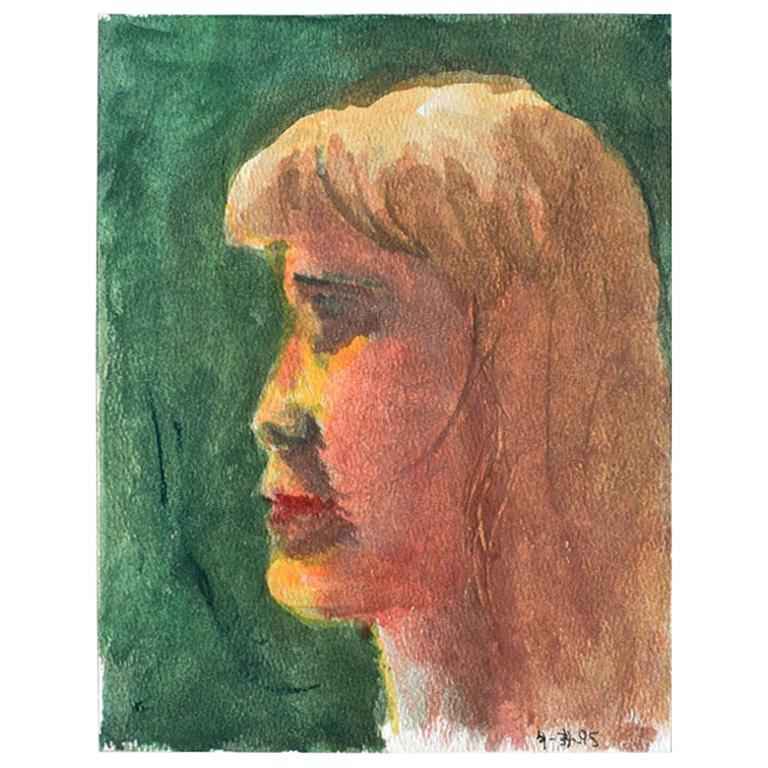 Small Profile Portrait Painting of a Blonde Girl on Green For Sale