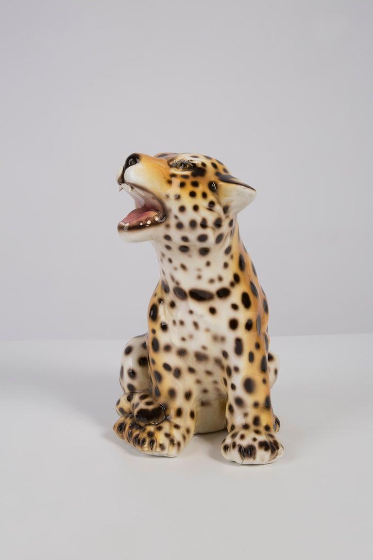 20th Century Small Rare Ceramic Leopard Decorative Sculpture, Italy, 1960s