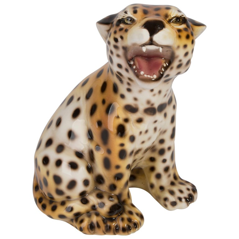 Small Rare Ceramic Leopard Decorative Sculpture, Italy, 1960s