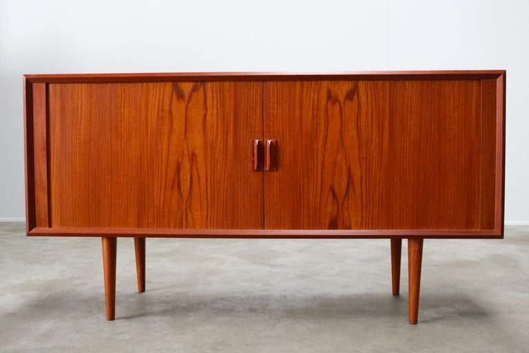 Mid-Century Modern Small Rare Danish Sideboard / Credenza by Svend Aage Madsen for Faarup 1950 Teak For Sale