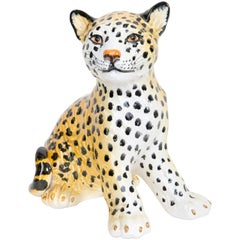 Small Rare Leopard Ceramic Sculpture, Italy, 1960s
