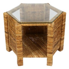 Small Rattan and Glass Table