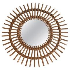 Small Rattan Mirror, French, Circa 1970