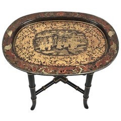 Small Regency Polychrome Chinoiserie Papier Mâché Tray Table