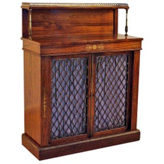 Small Regency Rosewood Brass Inlaid Cabinet Bookcase