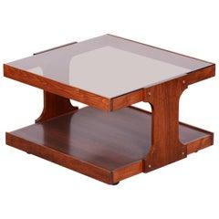 Small Restored Midcentury Czech Beech and Walnut Table, Glass Desk, 1960s