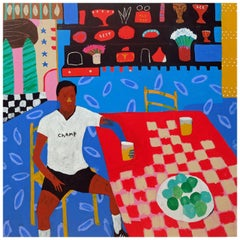 'Small Rewards' Portrait Painting by Alan Fears Football Sportsman Pop Art
