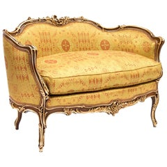 Small Rocaille Style Sofa, Natural Walnut and Gilt Highlights, Late 19th Century