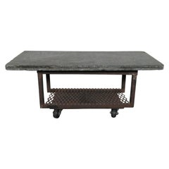 Small Rolling Side Table With Stone Top