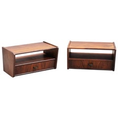 Small Rosewood Mid-Century Modern Suspended Nightstands