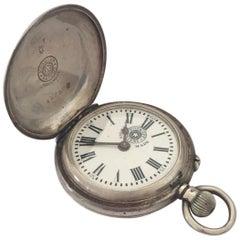 Small Roskopf Swiss Made Full Hunter Silver Pocket Watch, circa 1880