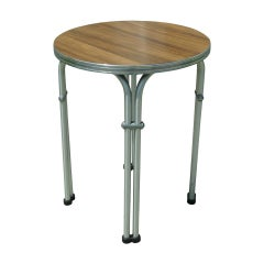 Small Round Aluminum and Walnut Table by Namco
