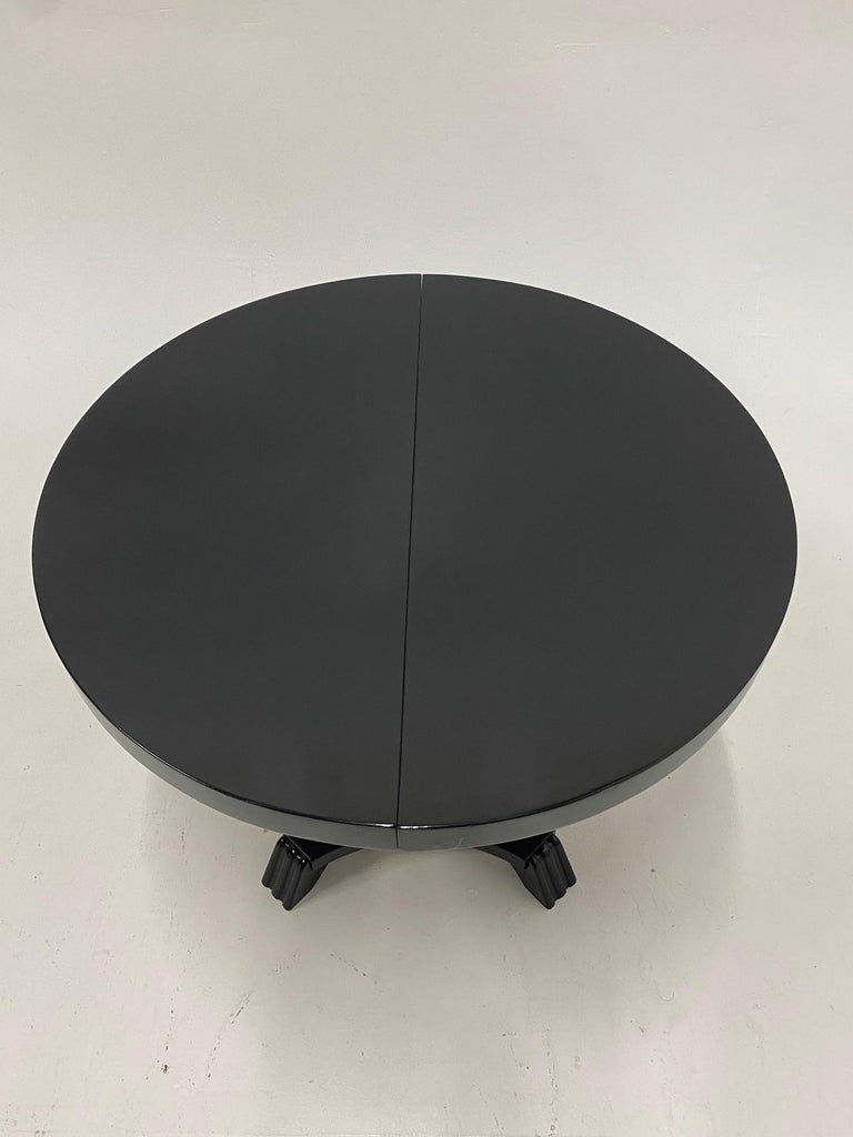 American Small Round and Oval Hollywood Regency Style Black Laquer Dining Table
