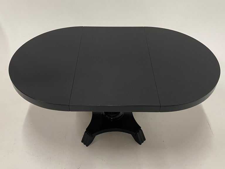 Wood Small Round and Oval Hollywood Regency Style Black Laquer Dining Table