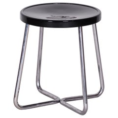 Small Round Bauhaus Black Chrome Stool by Vichr & Spol, Restored, 1930s