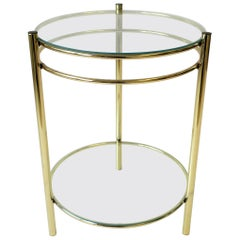Small Round Brass and Glass Side or Drinks Table
