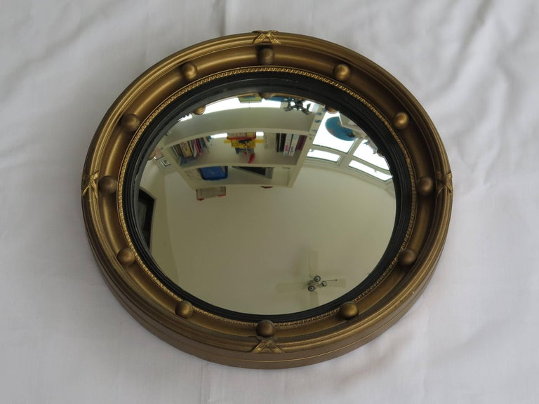 Small Round Convex Wall Mirror, Ribbon and Ball Detail ...