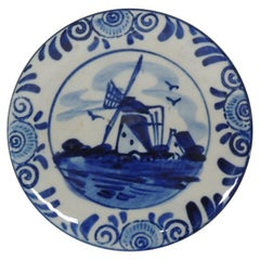 Small Round Delft Blue and White Trinket Box with Lid