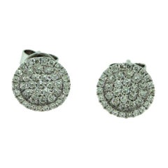 Small Round Diamond Perlee-Like White Gold Studs