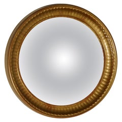 Small Round Frame Gilt Convex Wall Mirror