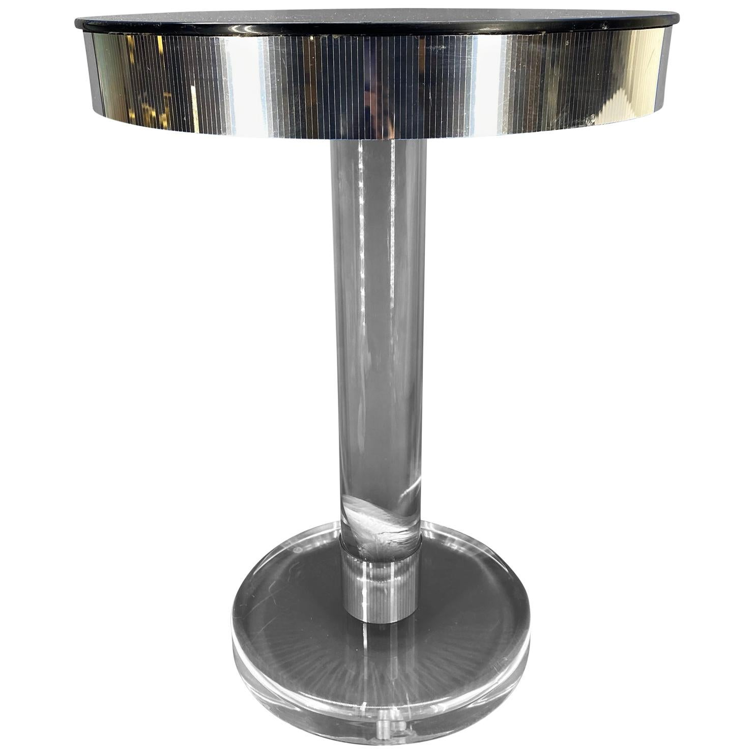 Small Round Italian Midcentury Lucite And Glass Top Side Table