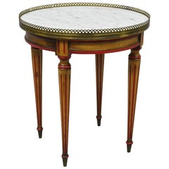 Small Round Marble-Top French Louis XVI Directoire Style Italian Side End Table