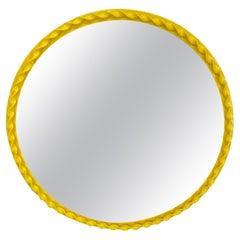 Small Round Mid-Century Modern Bright Yellow Wall Mirror, Newly Powder-Coated
