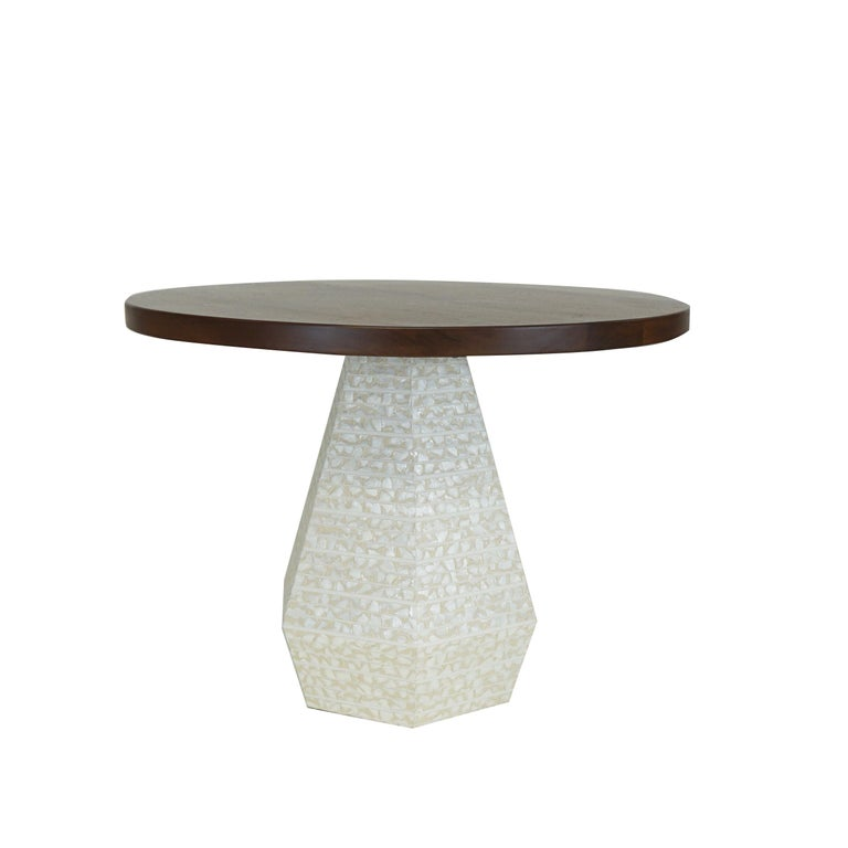 Small Round Modern Dining Table with Hexagon Pedestal Base 42
