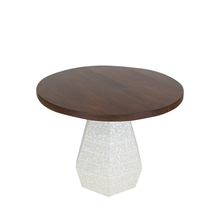 Contemporary Small Round Modern Dining Table with Hexagon Pedestal Base 42