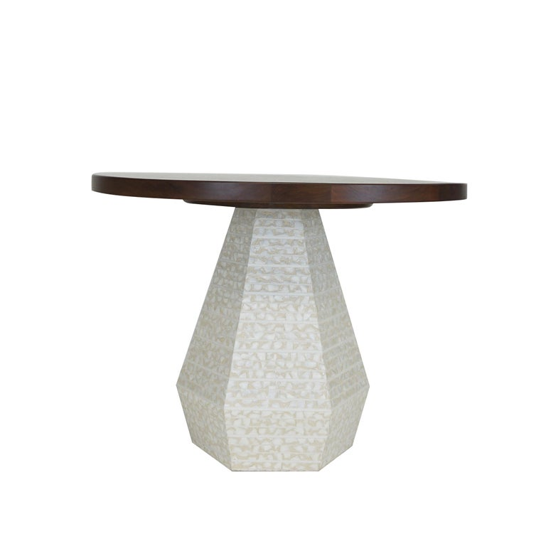 Shell Small Round Modern Dining Table with Hexagon Pedestal Base 42