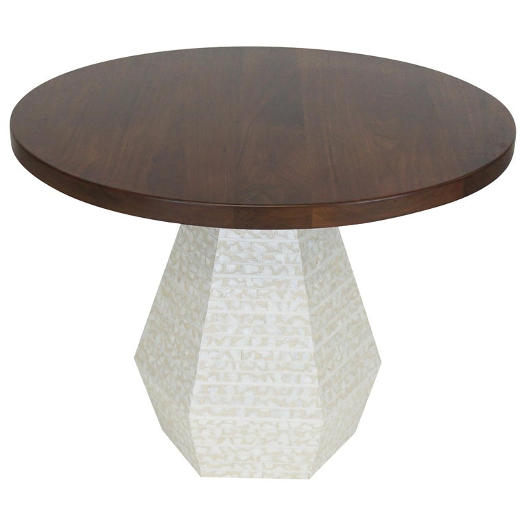 """Small Round Modern Dining Table with Hexagon Pedestal Base 42"""" Diamter For Sale"""