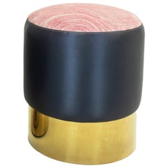 Small Round Ottoman with Gold Finished Base