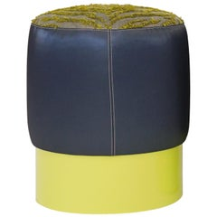 Small Round Ottoman with Navy Vinyl Citrine Tiger Flange Yellow Lacquered Base